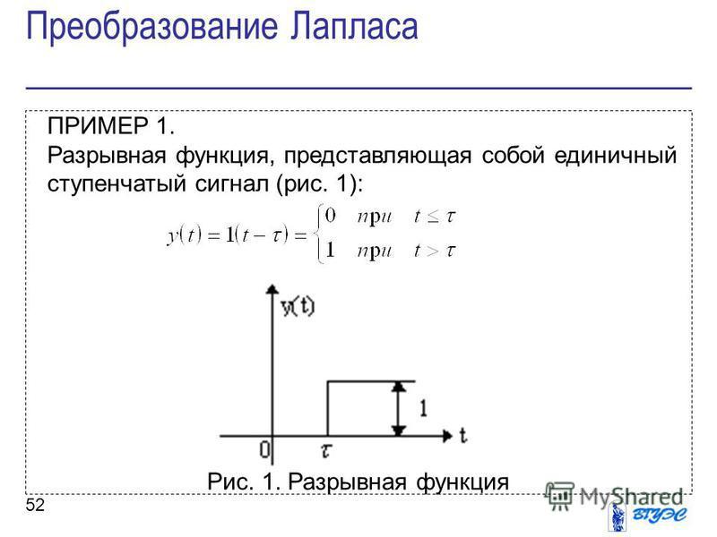 52 ПРИМЕР 1. Разрывная функция, представляющая собой единичный ступенчатый сигнал (рис. 1): Рис. 1. Разрывная функция Преобразование Лапласа