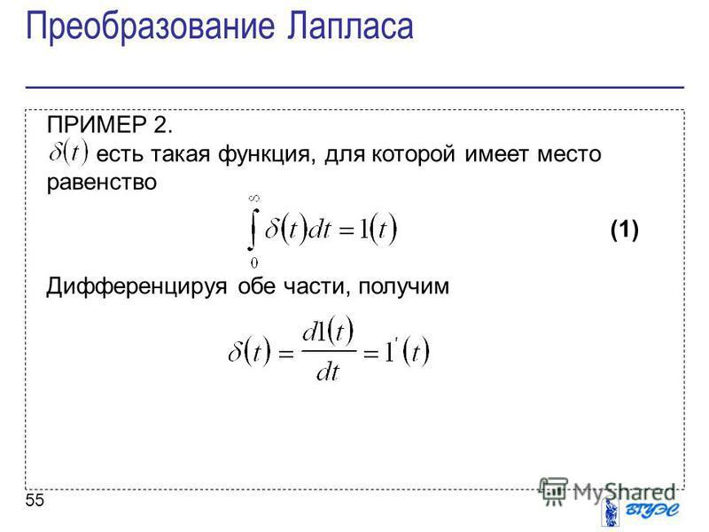 55 ПРИМЕР 2. есть такая функция, для которой имеет место равенство (1) Дифференцируя обе части, получим Преобразование Лапласа