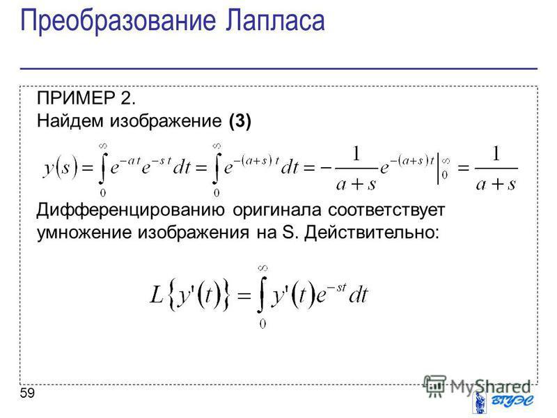 59 ПРИМЕР 2. Найдем изображение (3) Дифференцированию оригинала соответствует умножение изображения на S. Действительно: Преобразование Лапласа