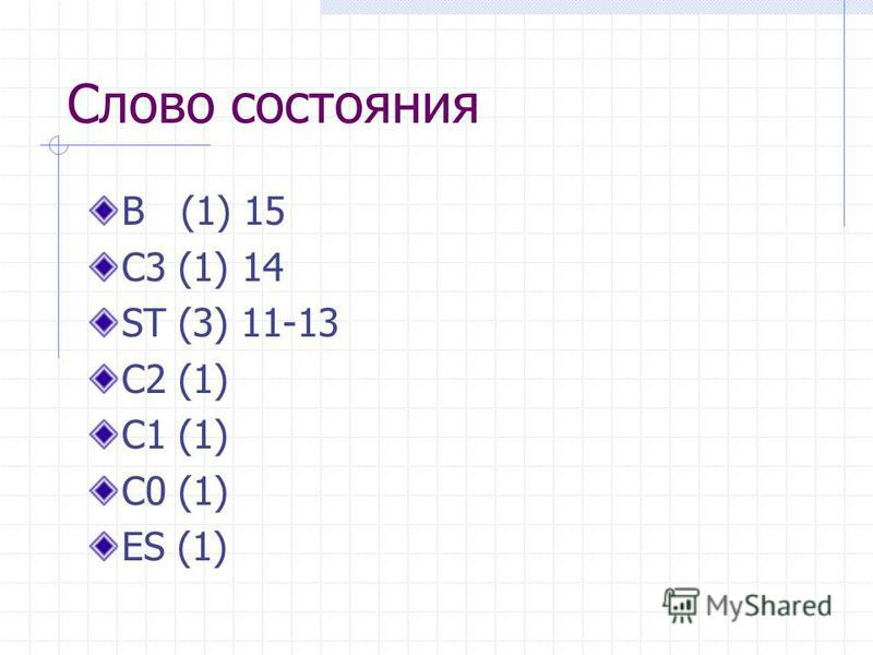 Слово состояния B (1) 15 C3 (1) 14 ST (3) 11-13 C2 (1) C1 (1) C0 (1) ES (1)
