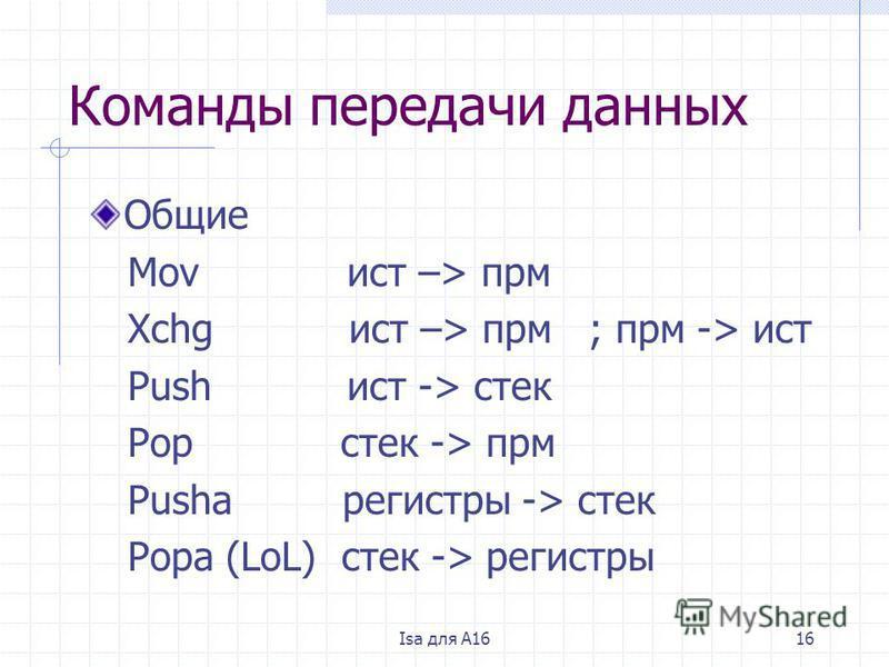Isa для A1616 Команды передачи данных Общие Mov ист –> при Xchg ист –> при ; при -> ист Push ист -> стек Pop стек -> при Pusha регистры -> стек Popa (LoL) стек -> регистры