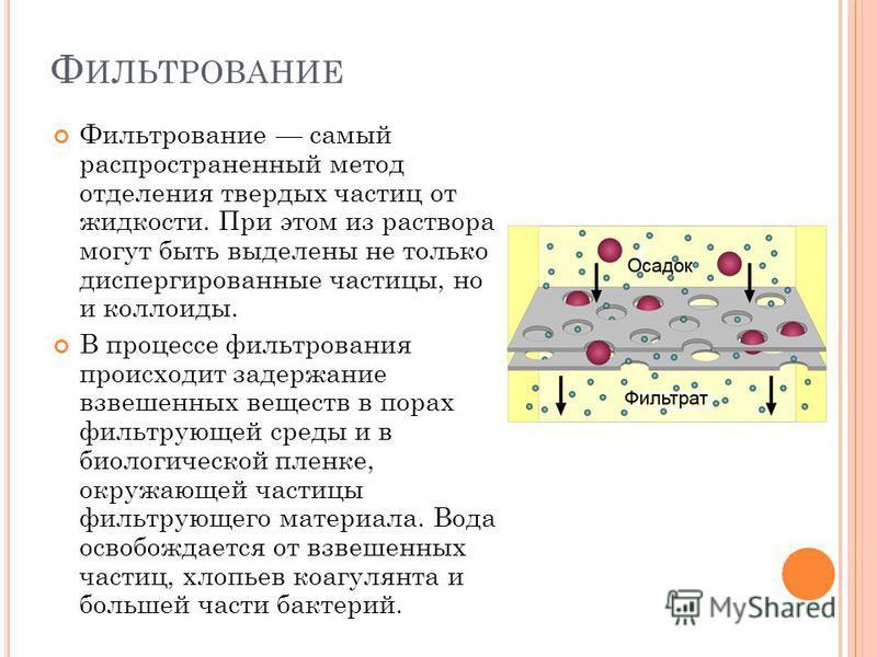 Ф ИЛЬТРОВАНИЕ Фильтрование самый распространенный метод отделения твердых частиц от жидкости. При этом из раствора могут быть выделены не только диспергированные частицы, но и коллоиды. В процессе фильтрования происходит задержание взвешенных веществ