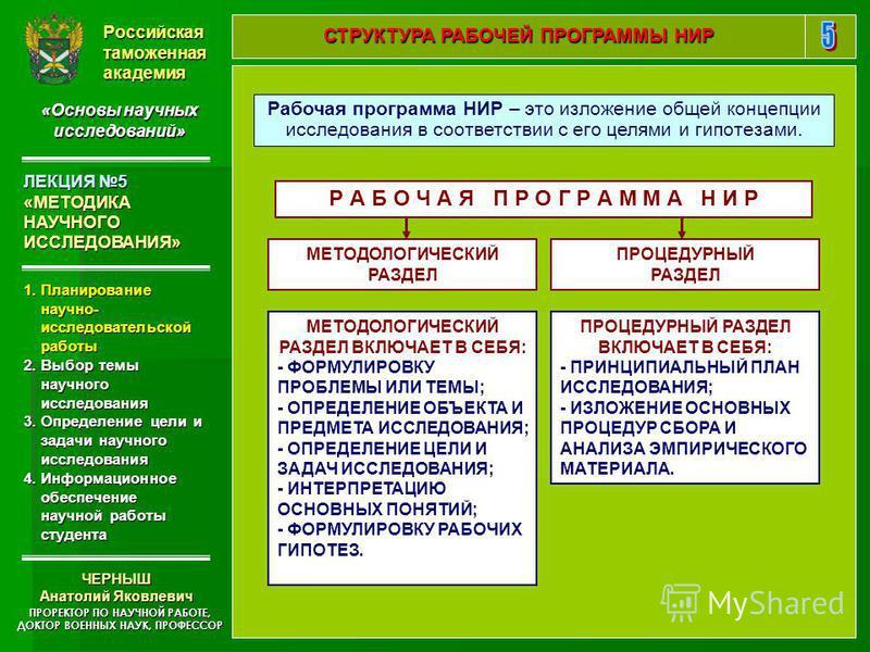 Презентация на тему УЧЕБНАЯ ДИСЦИПЛИНА ОСНОВЫ НАУЧНЫХ  5 Российская таможенная