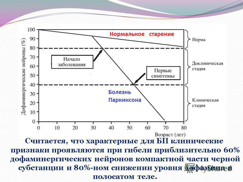 Cчитается, что характерные для БП клинические признаки проявляются при гибели приблизительно 60% дофамингреческих нейронов компактной части черной субстанции и 80%-ном снижении уровня дофамина в полосатом теле.