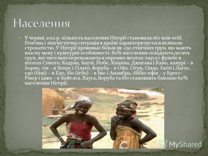 У червні 2012 р. кількість населення Нігерії становила 160 млн осіб. Етнічна і лінгвістична ситуація в країні характеризується великою строкатістю. У Нігерії проживає більш як 250 етнічних груп, що мають власну мову і культурні особливості. 80% насел