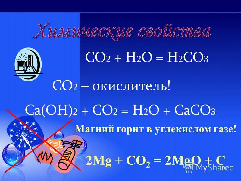 18 Мr(СО 2 ) = 44 Цвета, запаха не имеет. Хорошо растворяется в воде. 1. Не поддерживает горение 2. Вызывает помутнение известковой воды Мr(возд.) = 29