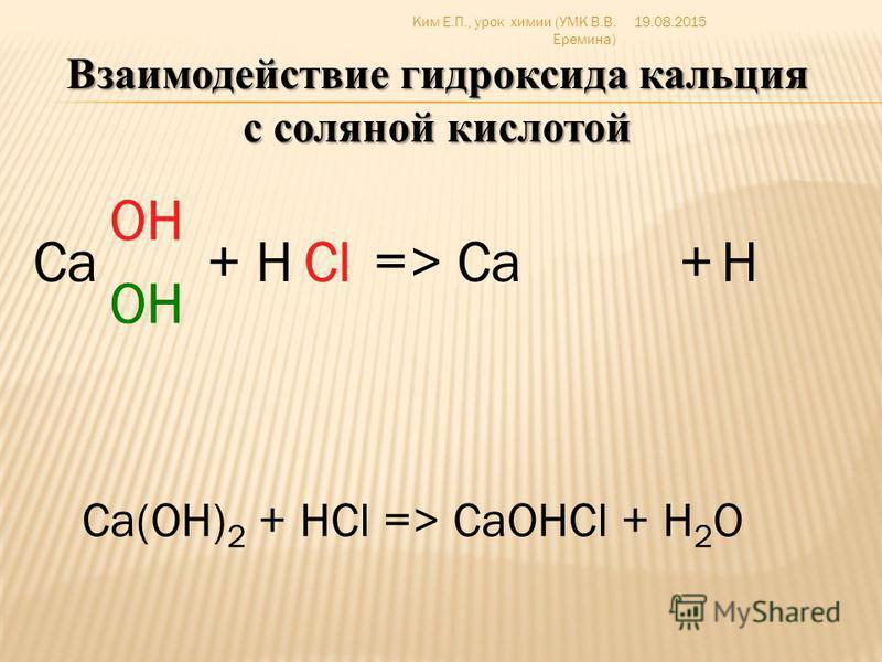 продукт неполного замещения атомов водорода в кислоте на металл КНСО 3 – гидрокарбонат калия LiH 2 PO 4 – дигидрофосфат лития Са(H 2 PO 4 ) 2 – дигидрофосфат кальция 19.08.2015Ким Е.П., урок химии (УМК В.В. Еремина)