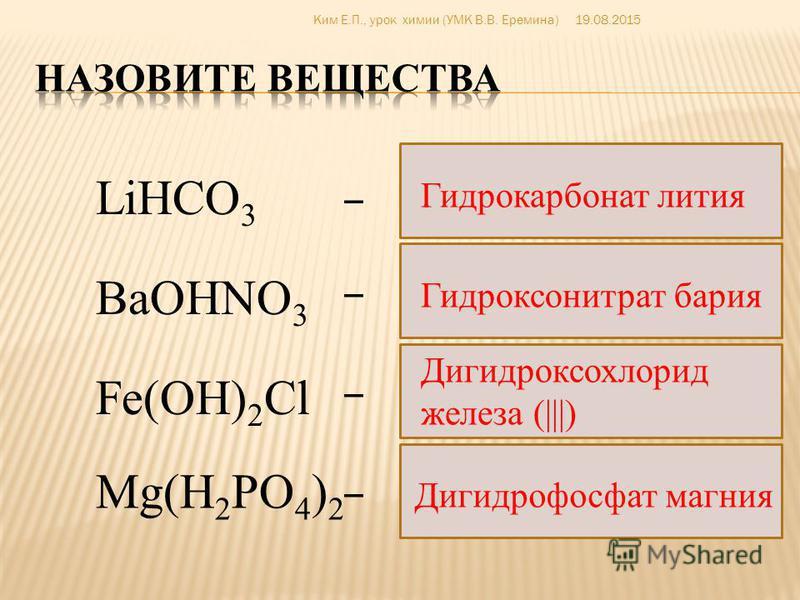 Основные соли Средние соли Кислые соли Распределите соли в соответствующие группы Ba(H 2 PO 4 ) 2 MgSO 4 Fe(NO) 3 KHCO 3 CaOHNO 3 AlOHCl 2 Na 2 HPO 4 AlCl 3 (MgOH) 2 SO 4 19.08.2015Ким Е.П., урок химии (УМК В.В. Еремина)