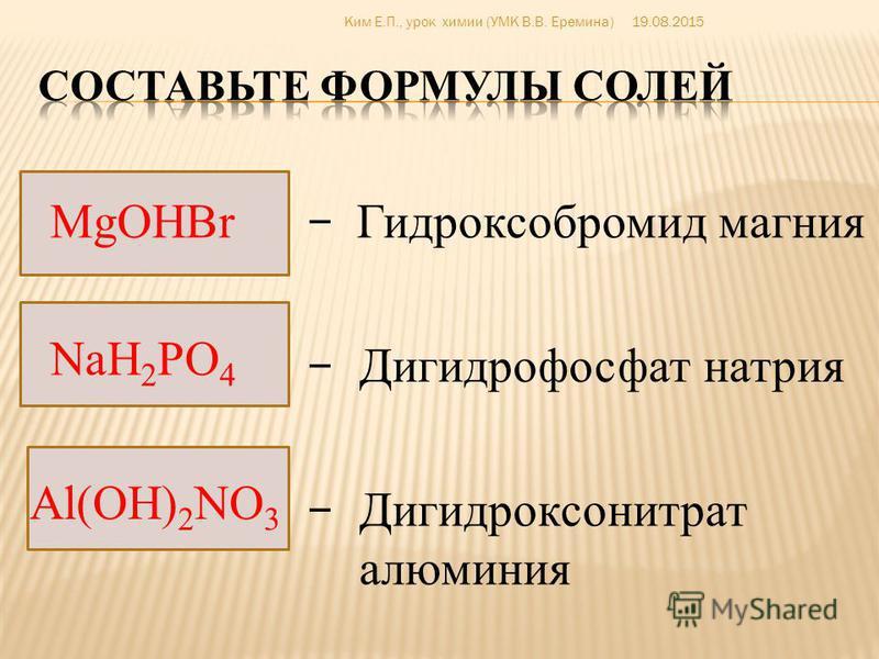 LiHCO 3 BaOHNO 3 Fe(OH) 2 Cl Mg(H 2 PO 4 ) 2 Гидрокарбонат лития Гидроксонитрат бария Дигидроксохлорид железа (|||) Дигидрофосфат магния – – – – 19.08.2015Ким Е.П., урок химии (УМК В.В. Еремина)
