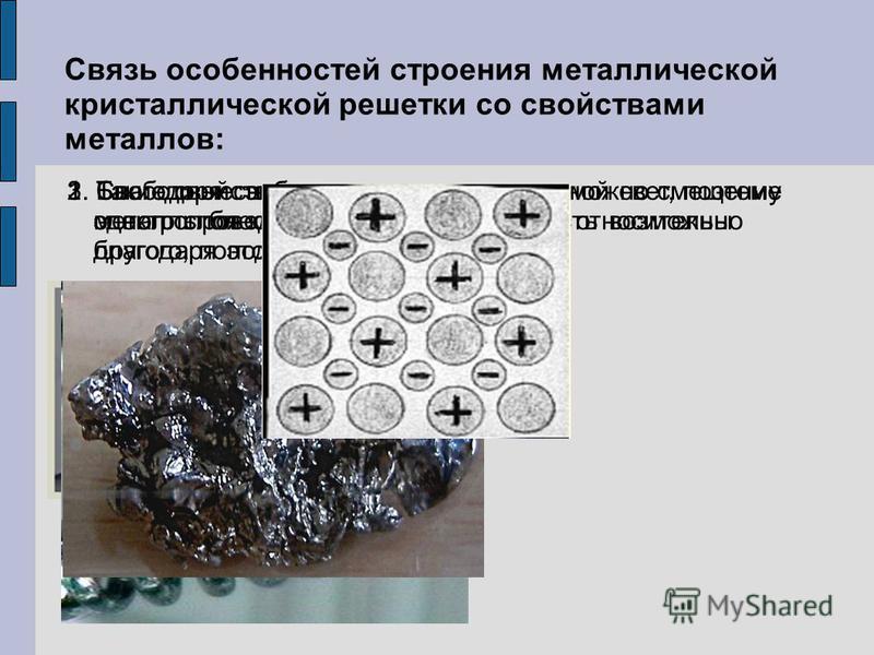 Связь особенностей строения металлической кристаллической решетки со свойствами металлов: 1. Такие свойства металлов, как электропроводность и теплопроводность возможны благодаря подвижности электронов. 3. Свободные электроны отражают дневной свет, п