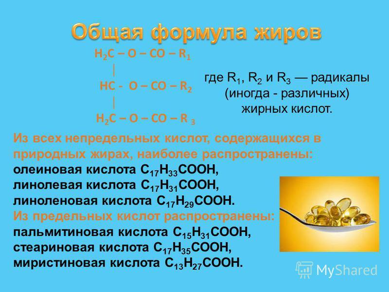 Н 2 С – О – СО – R 1 HС - О – СО – R 2 Н 2 С – О – СО – R 3 Из всех непредельных кислот, содержащихся в природных жирах, наиболее распространены: олеиновая кислота С 17 Н 33 СООН, линолевая кислота С 17 Н 31 СООН, линоленовая кислота С 17 Н 29 СООН.
