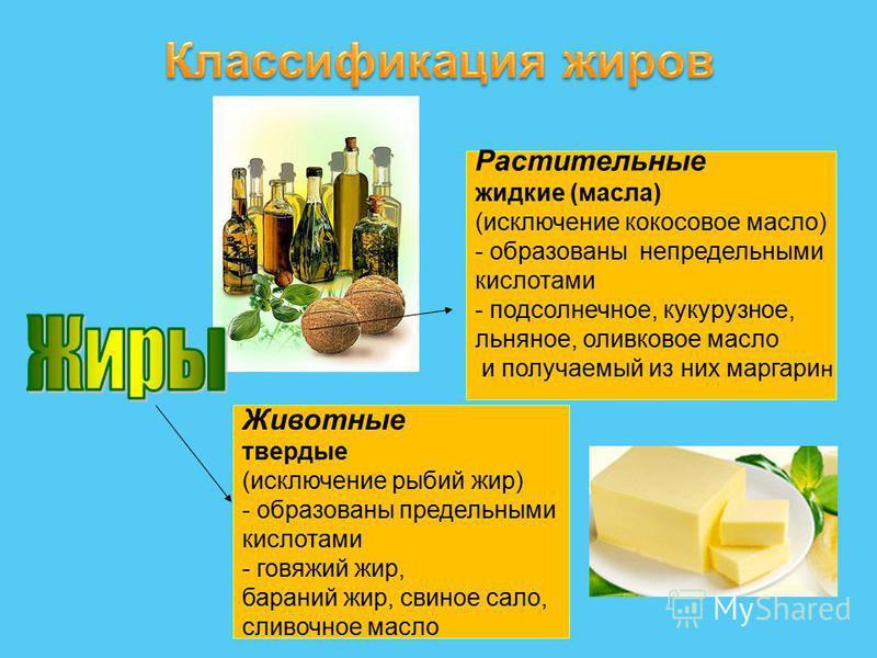Растительные жидкие (масла) (исключение кокосовое масло) - образованы непредельными кислотами - подсолнечное, кукурузное, льняное, оливковое масло и получаемый из них маргарин Животные твердые (исключение рыбий жир) - образованы предельными кислотами