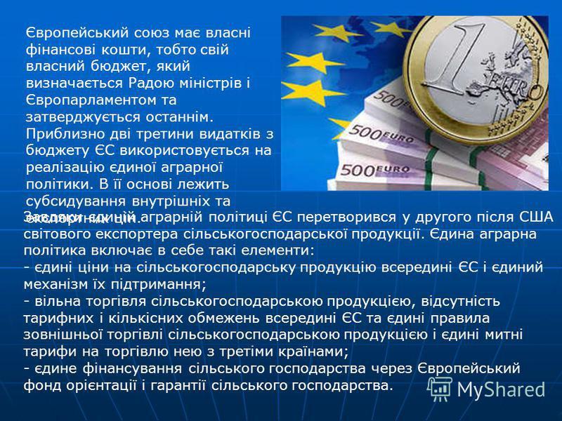 Європейський союз має власні фінансові кошти, тобто свій власний бюджет, який визначається Радою міністрів і Європарламентом та затверджується останнім. Приблизно дві третини видатків з бюджету ЄС використовується на реалізацію єдиної аграрної політи