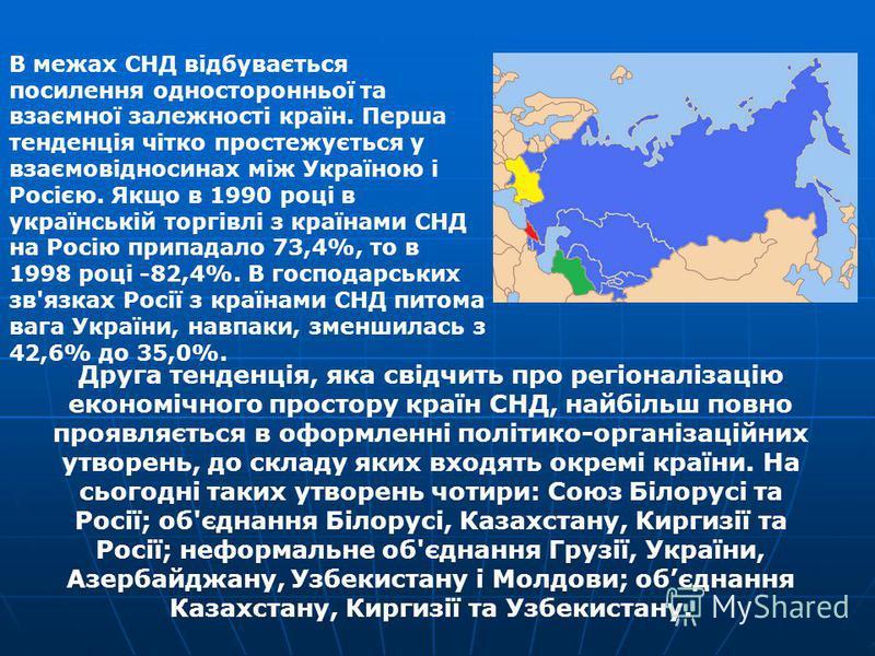 В межах СНД відбувається посилення односторонньої та взаємної залежності країн. Перша тенденція чітко простежується у взаємовідносинах між Україною і Росією. Якщо в 1990 році в українській торгівлі з країнами СНД на Росію припадало 73,4%, то в 1998 р