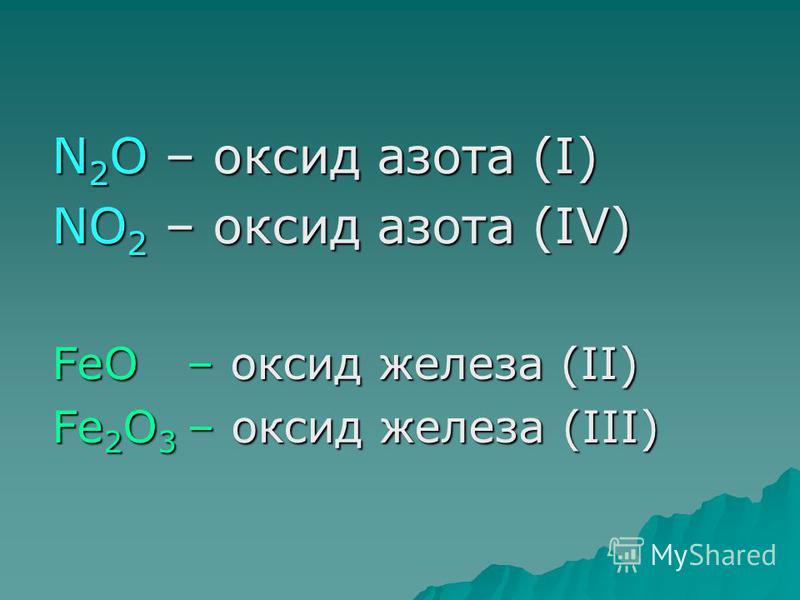 N 2 O – оксид азота (I) NO 2 – оксид азота (IV) FeO – оксид железа (II) Fe 2 O 3 – оксид железа (III)