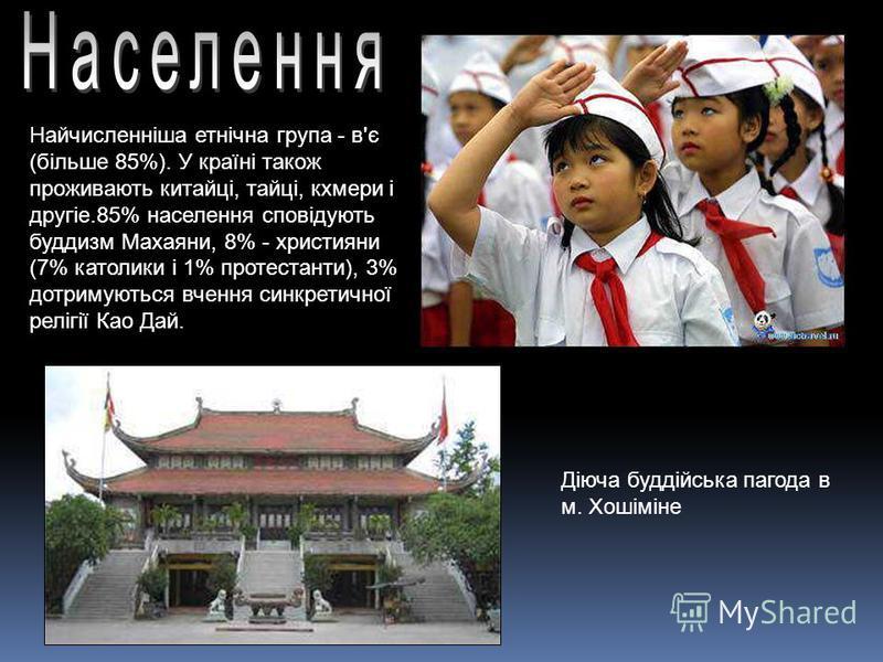 Найчисленніша етнічна група - в'є (більше 85%). У країні також проживають китайці, тайці, кхмери і другіе.85% населення сповідують буддизм Махаяни, 8% - християни (7% католики і 1% протестанти), 3% дотримуються вчення синкретичної релігії Као Дай. Ді