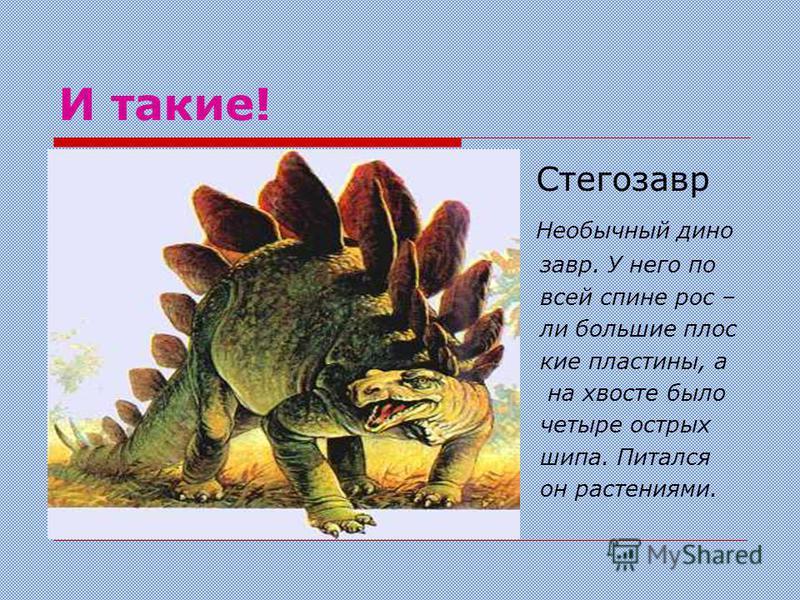 Ещё бываем такие ! Брахиозавр имел 25 м. в длину, 12 м. высоту и весил около 80 тонн. Благодаря длинной шее он мог дотягиваться до листьев на верхушках деревьев.