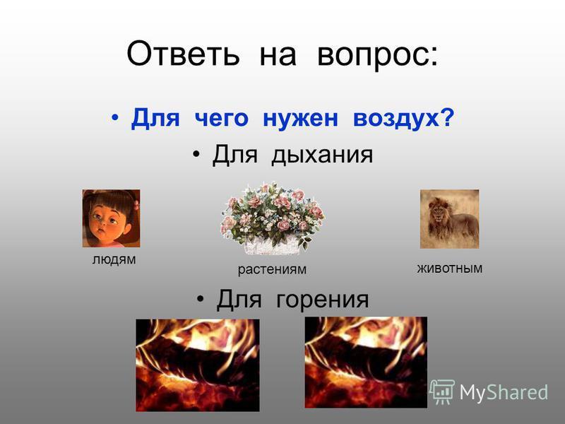 Ответь на вопрос: Для чего нужен воздух? Для дыхания Для горения людям животным растениям