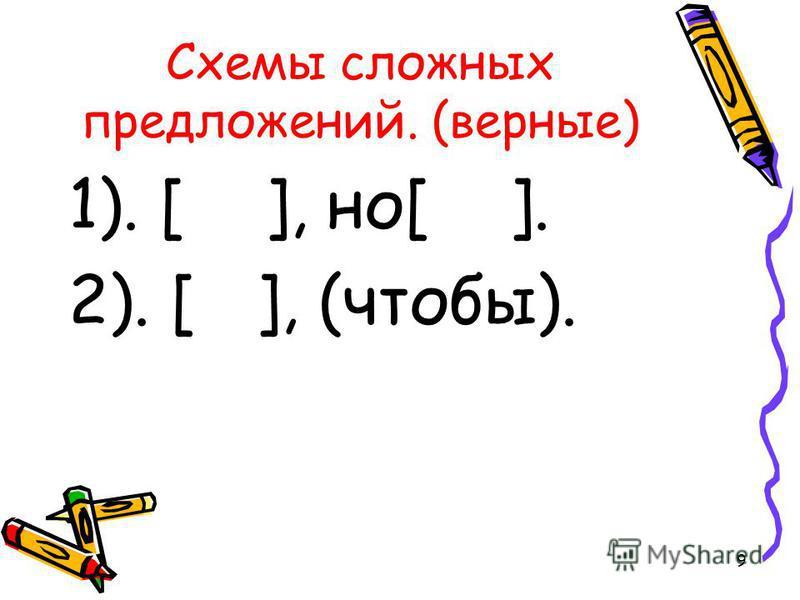 9 Схемы словных предложений. (верные) 1). [ ], но[ ]. 2). [ ], (чтобы).