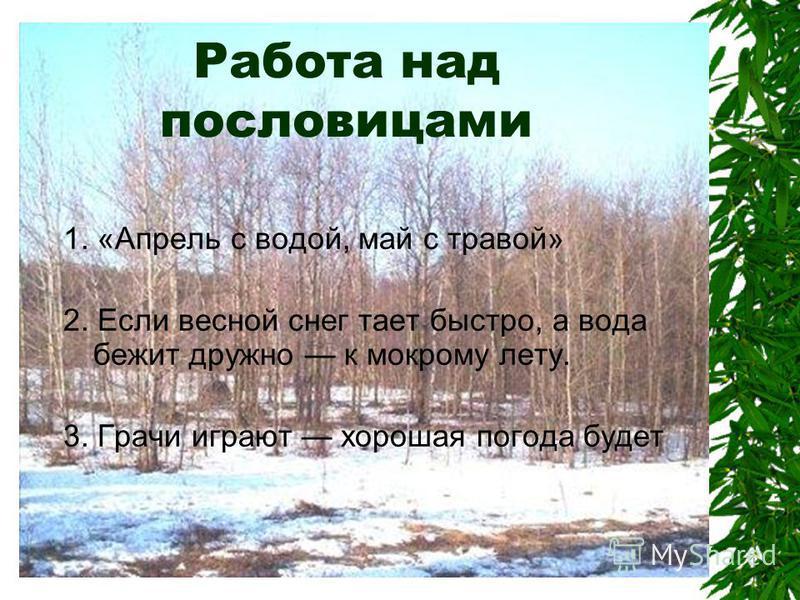 Работа над пословицами 1. «Апрель с водой, май с травой» 2. Если весной снег тает быстро, а вода бежит дружно к мокрому лету. 3. Грачи играют хорошая погода будет