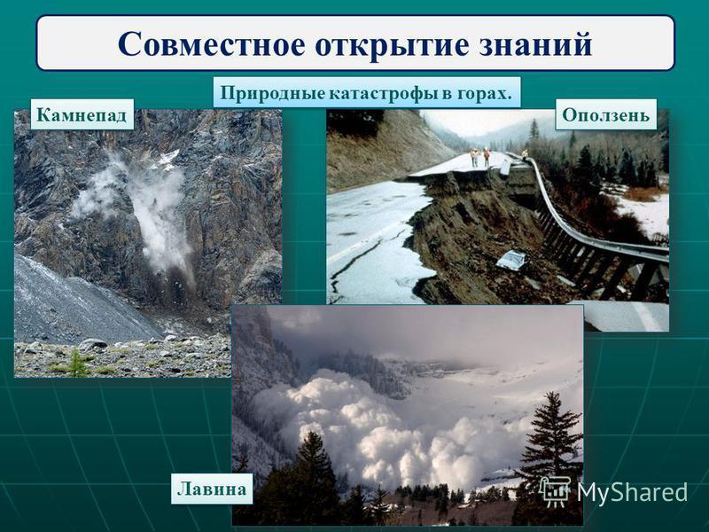 Совместное открытие знаний Природные катастрофы в горах. Камнепад Оползень Лавина