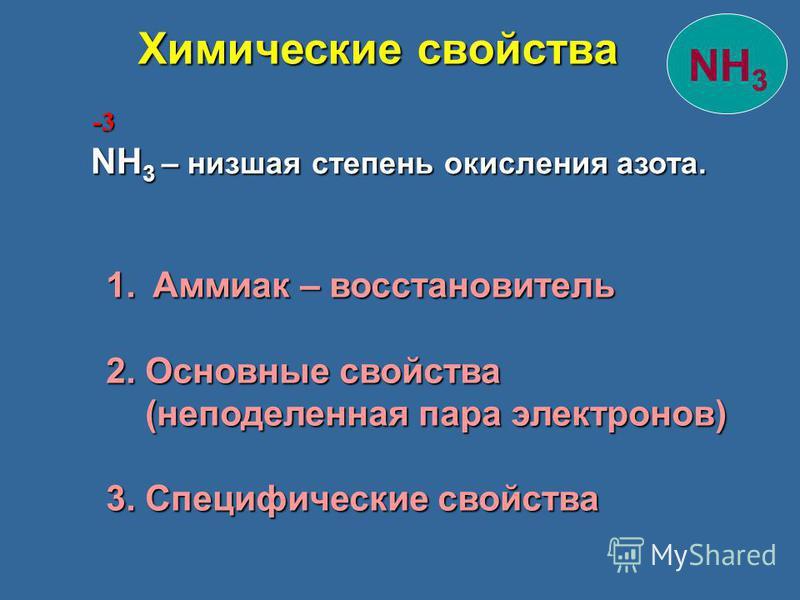 NH 3 – низшая степень окисления азота. -3 1. Аммиак – восстановитель 2. Основные свойства (неподеленная пара электронов) (неподеленная пара электронов) 3. Специфические свойства NH 3 Химические свойства Химические свойства