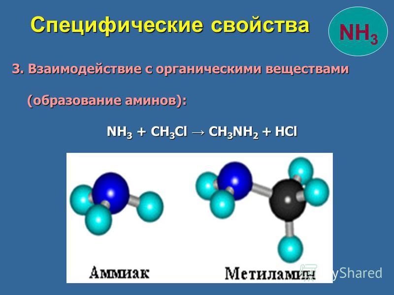 3. Взаимодействие с органическими веществами 3. Взаимодействие с органическими веществами (образование аминов): (образование аминов): NH 3 + CH 3 Cl CH 3 NH 2 + HCl NH 3 + CH 3 Cl CH 3 NH 2 + HCl Специфические свойства Специфические свойства NH 3