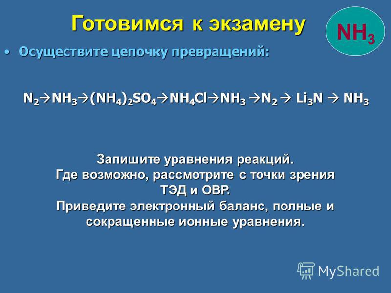 Осуществите цепочку превращений:Осуществите цепочку превращений: N 2 NH 3 (NH 4 ) 2 SO 4 NH 4 Cl NH 3 N 2 Li 3 N NH 3 N 2 NH 3 (NH 4 ) 2 SO 4 NH 4 Cl NH 3 N 2 Li 3 N NH 3 Готовимся к экзамену NH 3 Запишите уравнения реакций. Где возможно, рассмотрите