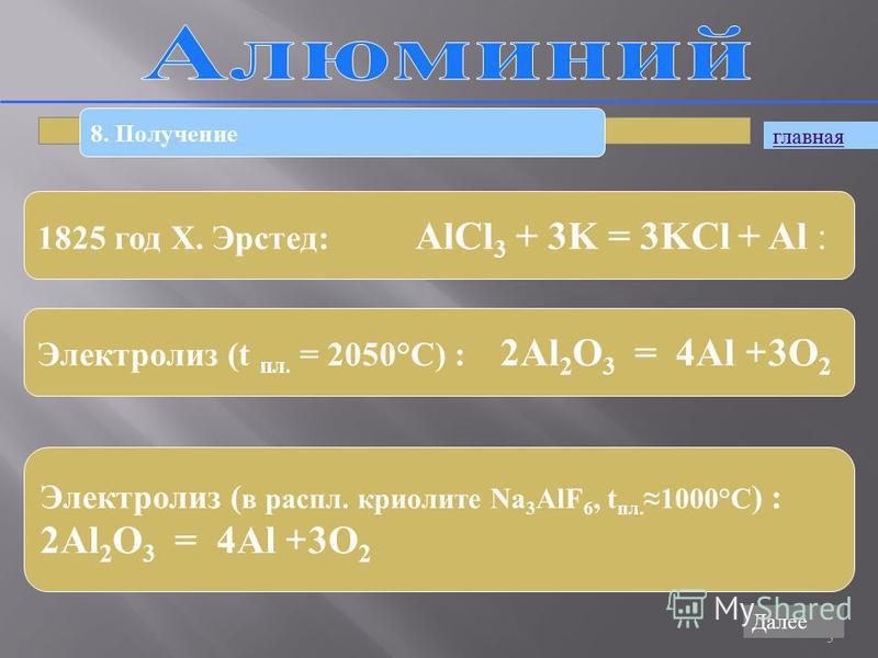3 8. Получение 1825 год Х. Эрстед: AlCl 3 + 3K = 3KCl + Al : Электролиз (t пл. = 2050°С) : 2Al 2 O 3 = 4Al + 3O 2 Электролиз ( в распил. криолите Na 3 AlF 6, t пл.1000°С ) : 2Al 2 O 3 = 4Al + 3O 2 главная Далее
