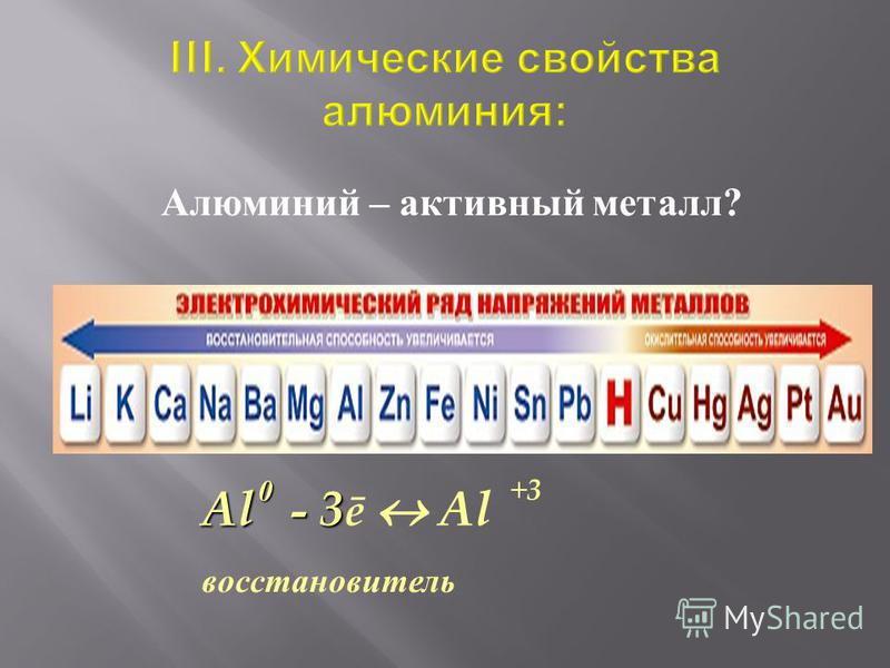Алюминий – активный металл? Al - 3 Al - 3 ē Al восстановитель +3+30