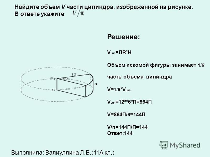 B11( 25775) Найдите объем V части силиндра, изображенной на рисунке. В ответе укажите V/п Решение: 1) Находим объём нижнего силиндра: H=3 см R=4 см V 1 =ПR²H=П*16*3=48П 2) Верхнюю часть дополняем до силиндра и находим ее объем: Н=2 см R=4 см V 2 = ПR