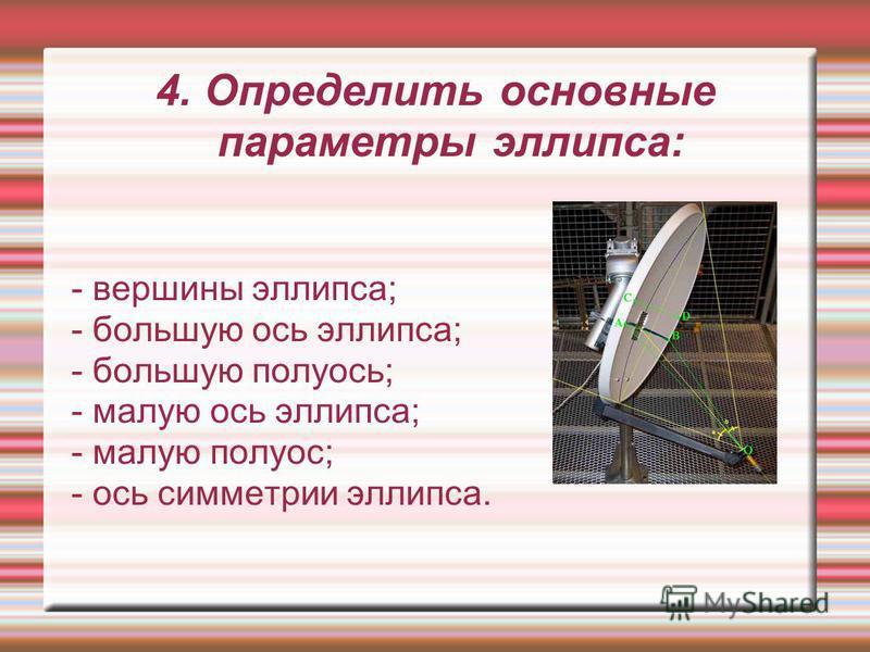 4. Определить основные параметры эллипса: - вершины эллипса; - большую ось эллипса; - большую полуосьь; - малую ось эллипса; - малую полуось; - ось симметрии эллипса.