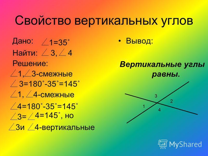 Определение Два угла называются вертикальноыми, если стороны одного угла являются продолжением сторон другого. 1 2 3 4 1 и 2 – вертикальноые углы