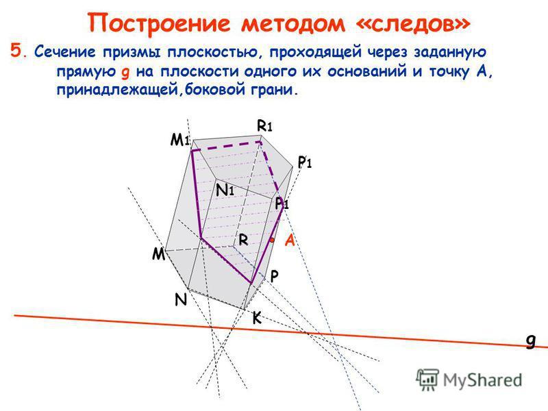 5. Сечение призмы плоскостью, проходящей через заданную прямую g на плоскости одного их оснований и точку A, принадлежащей,боковой грани. M K N R P P1P1 P1P1 M1M1 R1R1 N1N1 А g