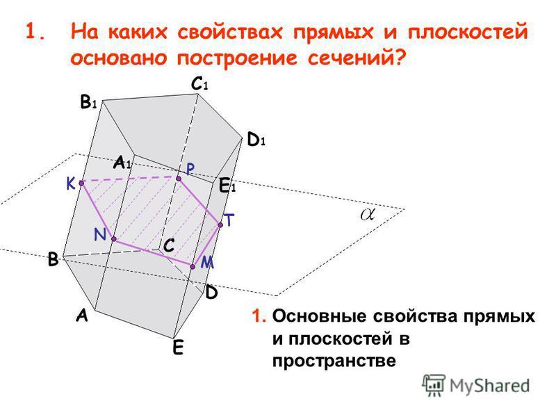 1. На каких свойствах прямых и плоскостей основано построение сечений? A B D E A1A1 C1C1 B1B1 D1D1 E1E1 C M T P N K 1. Основные свойства прямых и плоскостей в пространстве