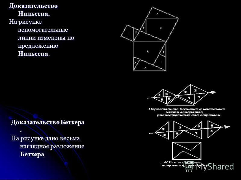 Доказательство Нильсена. На рисунке вспомогательные линии изменены по предложению Нильсена. Доказательство Бетхера. На рисунке дано весьма наглядное разложение Бетхера.