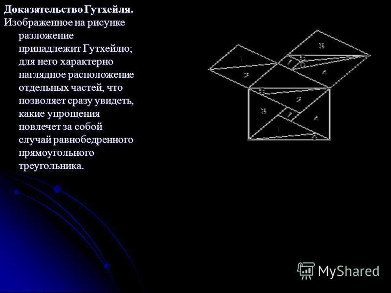 Доказательство Гутхейля. Изображенное на рисунке разложение принадлежит Гутхейлю; для него характерно наглядное расположение отдельных частей, что позволяет сразу увидеть, какие упрощения повлечет за собой случай равнобедренного прямоугольного треуго