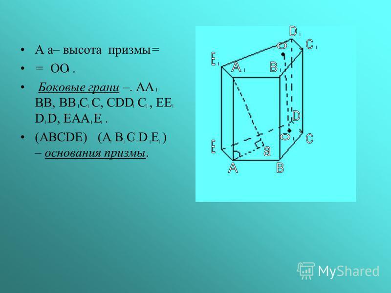 А а– высота призмы= = ОО. Боковые грани –. AA BB, BB C C, CDD C, EE D D, EAA E. (ABCDE) (A B C D E ) – основания призмы.