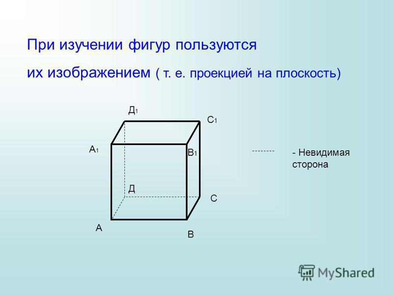 При изучении фигур пользуются их изображением ( т. е. проекцией на плоскость) - Невидимая сторона А В С Д А1А1 В1В1 С1С1 Д1Д1