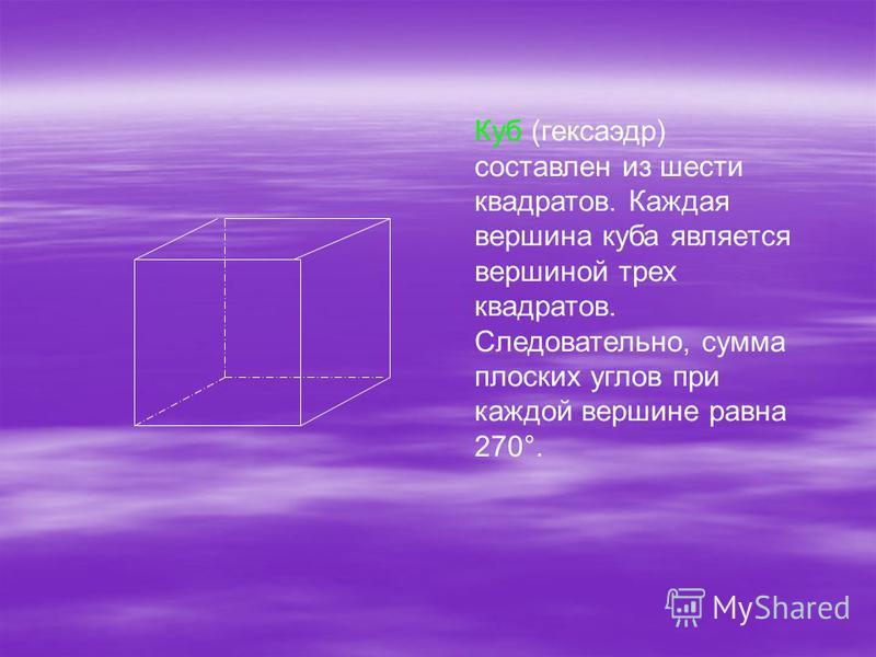 Куб (кексаэдр) составлен из шести квадратов. Каждая вершина куба является вершиной трех квадратов. Следовательно, сумма плоских углов при каждой вершине равна 270°.