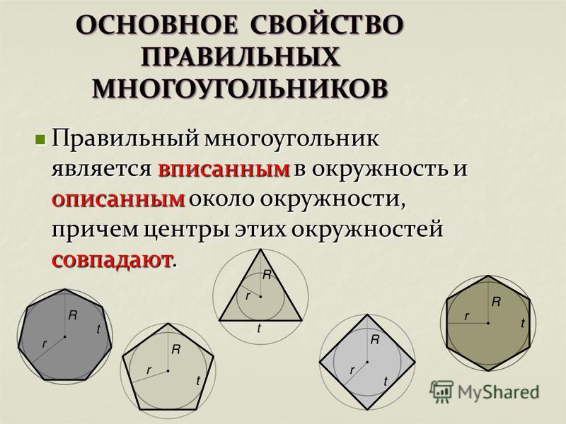 Правильный многоугольник является вписанным в окружность и описанным около окружности, причем центры этих окружностей совпадают. Правильный многоугольник является вписанным в окружность и описанным около окружности, причем центры этих окружностей сов