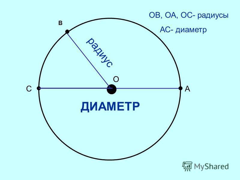 О А ОВ, ОА, ОС- радиусы АС- диаметр радиус С В ДИАМЕТР