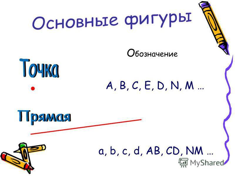 О бозначение. А, В, С, Е, D, N, M …. a, b, c, d, AB, CD, NM …