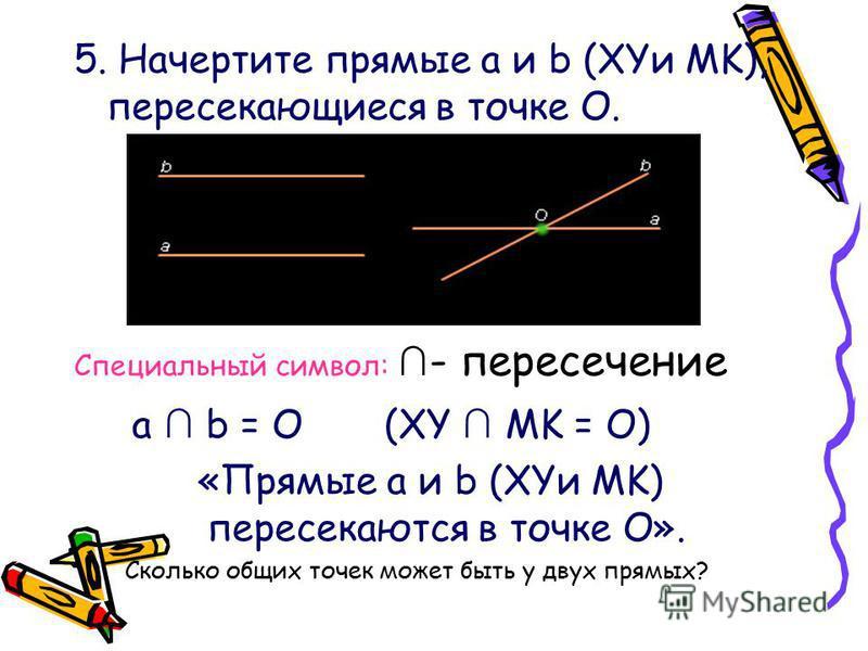 5. Начертите прямые a и b (XYи MK), пересекающиеся в точке О. Специальный символ: - пересечение a b = О (XY MK = О) «Прямые a и b (XYи MK) пересекаются в точке О». Сколько общих точек может быть у двух прямых?