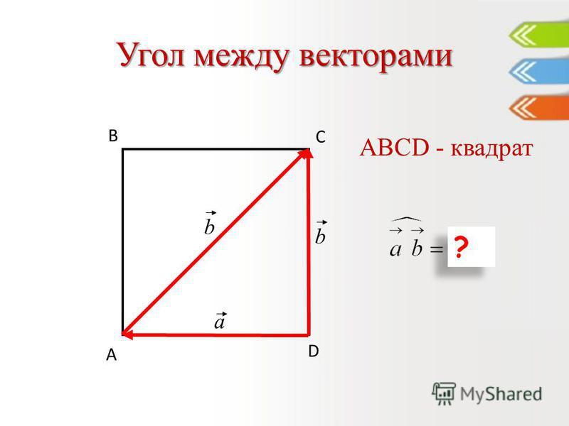 Угол между векторами D С В А ABCD - квадрат a ? ? b b