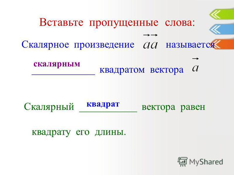 Вставьте пропущенные слова: Скалярное произведение называется ____________ квадратом вектора Скалярный ___________ вектора равен квадрату его длины. скалярным квадрат