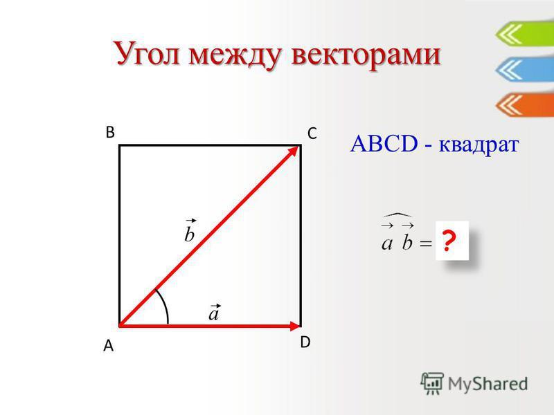 Угол между векторами D С В А a b ? ? ABCD - квадрат