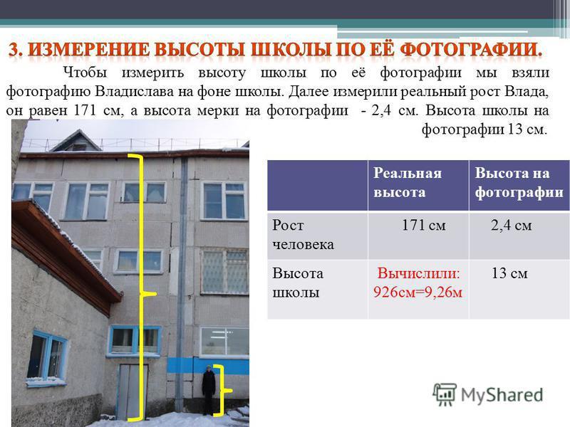 Чтобы измерить высоту школы по её фотографии мы взяли фотографию Владислава на фоне школы. Далее измерили реальный рост Влада, он равен 171 см, а высота мерки на фотографии - 2,4 см. Высота школы на фотографии 13 см. Реальная высота Высота на фотогра