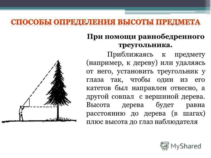При помощи равнобедренного треугольника. Приближаясь к предмету (например, к дереву) или удаляясь от него, установить треугольник у глаза так, чтобы один из его катетов был направлен отвесно, а другой совпал с вершиной дерева. Высота дерева будет рав
