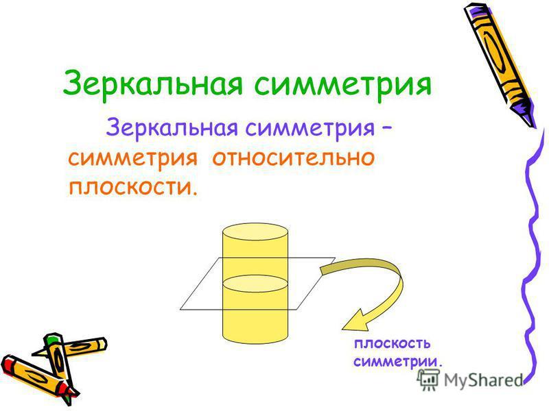 Зеркальная симметрия Зеркальная симметрия – симметрия относительно плоскости. плоскость симметрии.